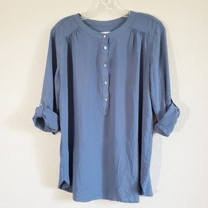 Long sleeve roll cuff blouse Ann Taylor LOFT